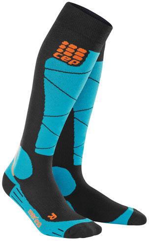 CEP Ski Merino Skisokken Zwart Azuurblauw